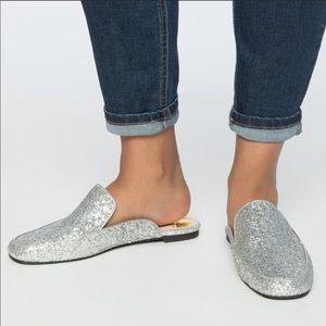 ELOQUII Selena Silver Glitter Flat Mules